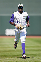 Center fielder Jared Mitchell #24 of the Winston-Salem Dash jogs off the field between innings of the game against the Kinston Indians at BB&T Ballpark on April 17, 2011 in Winston-Salem, North Carolina.   Photo by Brian Westerholt / Four Seam Images