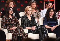 """PASADENA, CA - JANUARY 9: (L-R Front Row) Executive Producer Stacey Sher, Executive Producer/cast member Cate Blanchett, Creator/Executive Producer/Writer Dahvi Waller, (L-R Back Row) cast members Margo Martindale, Tracey Ullman, and Sarah Paulson attend the panel for """"Mrs. America"""" during the FX Networks presentation at the 2020 TCA Winter Press Tour at the Langham Huntington on January 9, 2020 in Pasadena, California. (Photo by Frank Micelotta/FX Networks/PictureGroup)"""