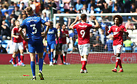 28th August 2021; Cardiff City Stadium, Cardiff, Wales;  EFL Championship football, Cardiff versus Bristol City; Joel Bagan of Cardiff City looks dejected after the 1-2 defeat as Bristol City players celebrate