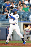 Tulsa Drillers outfielder Delta Cleary Jr. (24) at bat during a game against the Midland RockHounds on May 31, 2014 at ONEOK Field in Tulsa, Oklahoma.  Tulsa defeated Midland 5-3.  (Mike Janes/Four Seam Images)