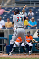 Wilkin Ramirez #33 of the Toledo Mudhens at bat versus the Norfolk Tides at Harbor Park June 7, 2009 in Norfolk, Virginia. (Photo by Brian Westerholt / Four Seam Images)