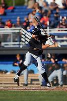 West Virginia Black Bears first baseman Albert Baur (25) at bat during a game against the Batavia Muckdogs on June 29, 2016 at Dwyer Stadium in Batavia, New York.  West Virginia defeated Batavia 9-4.  (Mike Janes/Four Seam Images)