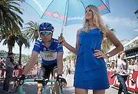 Bert-Jan Lindeman (NLD/LottoNL-Jumbo) in the blue jersey at the start<br /> <br /> 2015 Giro<br /> stage 3: Rapallo - Sestri Levante (136km)