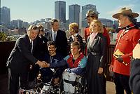 File Photo - circa 1987 - Andre Viger and Rick Hansen at Montreal City hall
