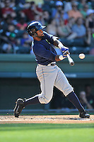 Center fielder Ivan Wilson (18) of the Columbia Fireflies bats in a game against the Greenville Drive on Sunday, May 8, 2016, at Fluor Field at the West End in Greenville, South Carolina. Greenville won, 5-4. (Tom Priddy/Four Seam Images)