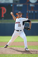 A.J. Puckett (15) of the Pepperdine Waves pitches against the Texas A&M Aggies at Eddy D. Field Stadium on February 26, 2016 in Malibu, California. Pepperdine defeated Texas A&M, 7-5. (Larry Goren/Four Seam Images)