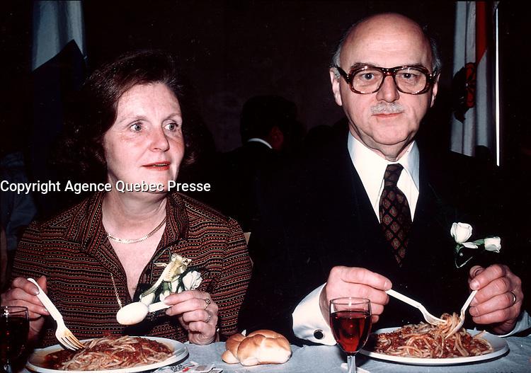 Montreal (QC) CANADA, FILE PHOTO, circa 1982, Jean Drapeau, Montreal Mayor and wife