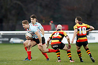 Leo Fielding of Blackheath Rugby evading tackles during the English National League match between Richmond and Blackheath  at Richmond Athletic Ground, Richmond, United Kingdom on 4 January 2020. Photo by Carlton Myrie.