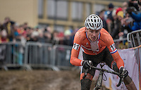 Mathieu Van der Poel (NED/Beobank-Corendon) leading the race in teh first lap<br /> <br /> Elite Men's Race<br /> UCI 2017 Cyclocross World Championships<br /> <br /> january 2017, Bieles/Luxemburg