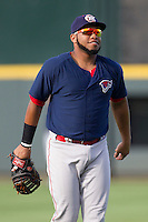 Oklahoma City RedHawks first baseman Jonathan Singleton (23) warms up before the Pacific Coast League baseball game against the Round Rock Express on August 25, 2013 at the Dell Diamond in Round Rock, Texas. Round Rock defeated Oklahoma City 9-2. (Andrew Woolley/Four Seam Images)