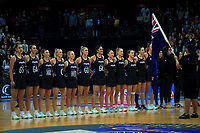 The New Zealand team sings the national anthem during the Cadbury Netball Series Taini Jamison Trophy match between New Zealand Silver Ferns and England Roses at Claudelands Arena in Hamilton, New Zealand on Wednesday, 28 October 2020. Photo: Dave Lintott / lintottphoto.co.nz