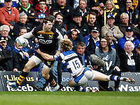 Photo: Richard Lane/Richard Lane Photography. London Wasps v Bath Rugby. Amlin Challenge Cup Semi Final. 27/04/2014. Wasps' Elliot Daly offloads in the tackle by Bath's Nick Abendanon.