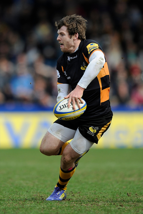 Elliot Daly of London Wasps in action during the Aviva Premiership match between London Wasps and Exeter Chiefs at Adams Park on Sunday 21st April 2013 (Photo by Rob Munro)