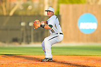 Charlotte 49ers shortstop Justin Roland (16) makes a throw to first base against the Delaware State Hornets at Robert and Mariam Hayes Stadium on February 15, 2013 in Charlotte, North Carolina.  The 49ers defeated the Hornets 13-7.  (Brian Westerholt/Four Seam Images)