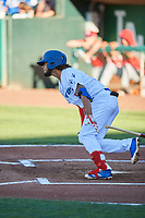 Ronny Brito (5) of the Ogden Raptors bats against the Orem Owlz at Lindquist Field on June 19, 2018 in Ogden, Utah. The Raptors defeated the Owlz 7-2. (Stephen Smith/Four Seam Images)