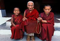 Dharamsala, India 1998. Three monks Dharamsala, India, 1998