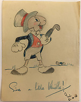 BNPS.co.uk (01202) 558833<br /> Pic: Tennants/BNPS<br /> <br /> Give a little whistle! A sketch of Jiminy Cricket from the Walt Disney film Pinocchio<br /> <br /> Cartoon drawings and photographs documenting life in a brutal Japanese prisoner of war camp have been found in an archive belonging to a former soldier. <br /> <br /> The satirical sketches depicting the plight of the British PoWs were produced in secret by Captain Harry Witheford and fell inmate Ronald Searle, the famous illustrator. <br /> <br /> The scenes included the notorious Changi PoW camp in Singapore and the building of the 'Death Railway' along the River Kwai in Burma. <br /> <br /> There are three previously unseen cartoons by Searle. <br /> <br /> One is a sketch to mark Capt Witheford's wife Edna's birthday on April 10, 1944, which shows four officers wearing only loincloths toasting her with mugs of beer.<br /> <br /> Searle also created a calendar for his friend which depicted an image of an army officer lying besides a naked blonde woman. <br /> <br /> Capt Witheford's accomplished work includes a drawing of a prisoner having a bath covered in sunburns from working on the railway.