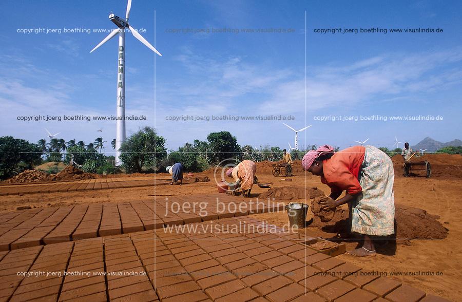 INDIA Tamil Nadu Muppandal, large wind farm with wind turbines and women work at brick industry unit at Cape Comorin | INDIEN Tamil Nadu , Frauen arbeiten in Ziegelei vor Windpark am Kap Comorin