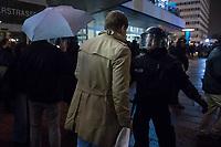 """Protest gegen AfD-Wahlerfolg am Abend der Bundestagswahl am 24. September 2017.<br /> In dem Berliner Club """"Traffic"""" am Alexanderplatz feierte die  Partei Alternative fuer Deutschland (AfD) am Wahlabend den Einzug in den Deutschen Bundestag. Davor versammelten sich ca. 1.500 Menschen und protestierten lautstark gegen die rechtsextreme Partei.<br /> Im Bild: Ein verspaeteter Gast der AfD-Wahlparty wird von der Polizei nicht durchgelassen. Trotz Platz auf der Gaesteliste.<br /> 24.9.2017, Berlin<br /> Copyright: Christian-Ditsch.de<br /> [Inhaltsveraendernde Manipulation des Fotos nur nach ausdruecklicher Genehmigung des Fotografen. Vereinbarungen ueber Abtretung von Persoenlichkeitsrechten/Model Release der abgebildeten Person/Personen liegen nicht vor. NO MODEL RELEASE! Nur fuer Redaktionelle Zwecke. Don't publish without copyright Christian-Ditsch.de, Veroeffentlichung nur mit Fotografennennung, sowie gegen Honorar, MwSt. und Beleg. Konto: I N G - D i B a, IBAN DE58500105175400192269, BIC INGDDEFFXXX, Kontakt: post@christian-ditsch.de<br /> Bei der Bearbeitung der Dateiinformationen darf die Urheberkennzeichnung in den EXIF- und  IPTC-Daten nicht entfernt werden, diese sind in digitalen Medien nach §95c UrhG rechtlich geschuetzt. Der Urhebervermerk wird gemaess §13 UrhG verlangt.]"""