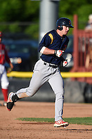 State College Spikes outfielder Rowan Wick (28) runs the bases after hitting a home run during a game against the Batavia Muckdogs on June 22, 2014 at Dwyer Stadium in Batavia, New York.  State College defeated Batavia 10-3.  (Mike Janes/Four Seam Images)
