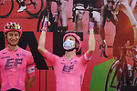 Lawson G Craddock (USA) and EF Education-Nippo at sign on before the start of Stage 5 of the 2021 UAE Tour running 170km from Fujairah to Jebel Jais, Fujairah, UAE. 25th February 2021.  <br /> Picture: Eoin Clarke   Cyclefile<br /> <br /> All photos usage must carry mandatory copyright credit (© Cyclefile   Eoin Clarke)
