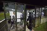 Bacup Borough 4 Holker Old Boys 1, 25/04/2016. Brain Boys West View Stadium, NorthWest Counties League Division One. The victorious home players leaving the pitch at the Brain Boys West View Stadium as Bacup Borough (in black) play Holker Old Boys in a NorthWest Counties League division one fixture. Formed as Bacup in 1879, the club moved into their current home in 1889 and have been known as Bacup Borough since the 1920s, apart from a brief recent spell when they added the name Rossendale to their name. With both teams challenging for play-off places, Bacup Borough won this fixture by 4-1, watched by a crowd of 50. Photo by Colin McPherson.
