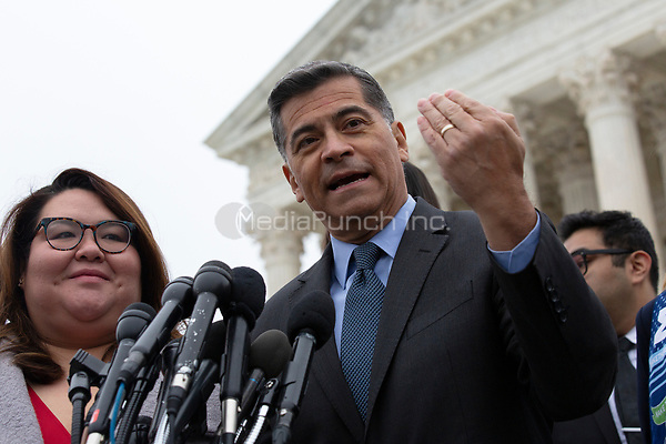 California Attorney General Xavier Becerra speaks to the press after the Supreme Court heard arguments on the Deferred Action for Childhood Arrivals program in Washington D.C., U.S. on Tuesday, November 12, 2019.<br /> <br /> Credit: Stefani Reynolds / CNP /MediaPunch