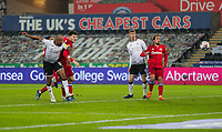 30th December 2020; Liberty Stadium, Swansea, Glamorgan, Wales; English Football League Championship Football, Swansea City versus Reading; Andre Ayew of Swansea City heads at goal but its saved
