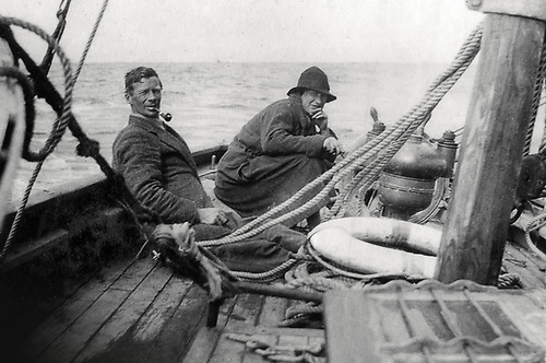Conor O'Brien and his sister Kitty aboard Kelpie off the west coast of Ireland, 1913.