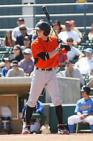 Kyle Hudson #21 of the Frederick Keys at bat during a game against the Myrtle Beach Pelicans on May 2, 2010 in Myrtle Beach, SC.