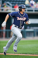 New Hampshire Fisher Cats designated hitter Matt Dean (24) runs to first base during a game against the Harrisburg Senators on June 2, 2016 at FNB Field in Harrisburg, Pennsylvania.  New Hampshire defeated Harrisburg 2-1.  (Mike Janes/Four Seam Images)