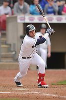 Cedar Rapids Kernels left fielder Shane Carrier (27) in action during a game against the Beloit Snappers at Veterans Memorial Stadium on April 8, 2017 in Cedar Rapids, Iowa.  The Snappers won 7-6.  (Dennis Hubbard/Four Seam Images)