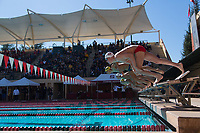 STANFORD, CA - February 17, 2018: Jack Walsh, Alex Liang at Avery Aquatic Center. The Stanford Cardinal defeated the California Golden Bears 151-149 on Senior Day.