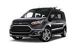 Stock pictures of low aggressive front three quarter view of 2018 Ford Transit Connect Titanium 5 Door Mini Mpv Low Aggressive