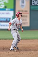 Dylan Moore (19) of the Spokane Indians runs the bases during a game against the Everett AquaSox at Everett Memorial Stadium on July 25, 2015 in Everett, Washington. Spokane defeated Everett, 10-1. (Larry Goren/Four Seam Images)