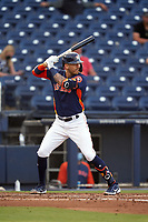 Houston Astros Carlos Correa (1) bats during a Major League Spring Training game against the Washington Nationals on March 19, 2021 at The Ballpark of the Palm Beaches in Palm Beach, Florida.  (Mike Janes/Four Seam Images)
