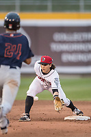 Lansing Lugnuts shortstop Bo Bichette (10) waits for the ball to arrive at second base during the Midwest League baseball game against the Bowling Green Hot Rods on June 29, 2017 at Cooley Law School Stadium in Lansing, Michigan. Bowling Green defeated Lansing 11-9 in 10 innings. (Andrew Woolley/Four Seam Images)