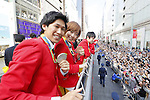 (L-R) Maharu Yoshimura, Kasumi Ishikawa (JPN), (JPN), <br /> OCTOBER 7, 2016 :<br /> Japanese medalists of Rio 2016 Olympic and Paralympic Games wave to spectators during a parade from Ginza to Nihonbashi, Tokyo, Japan.<br /> (Photo by Yusuke Nakanishi/AFLO SPORT)