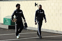 Wednesday 07 August 2013<br /> Pictured L-R: Wilfried Bony and Roland Lamah departing from the Swansea Training ground.  <br /> Re: Swansea City FC travelling to Sweden for their Europa League 3rd Qualifying Round, Second Leg game against Malmo.