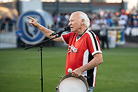 SAN JOSE, CA - SEPTEMBER 4: Krazy George rallies the fans before a game between Colorado Rapids and San Jose Earthquakes at PayPal Park on September 4, 2021 in San Jose, California.