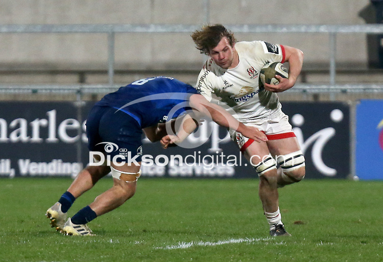 6 March 2021; Jordi Murphy is tackled by Scott Penny during the Guinness PRO14 match between Ulster and Leinster at Kingspan Stadium in Belfast. Photo by John Dickson/Dicksondigital