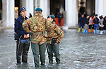 Venice underwater as exceptional tide sweeps through canal city.<br /> St. Mark's Square on November 14, 2019 in Venice, Italy.<br /> Much of Venice was left under water after the highest tide in 50 years ripped through the historic Italian city, beaching gondolas, trashing hotels and sending tourists fleeing through rapidly rising waters.