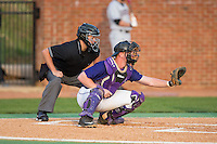 High Point Panthers catcher Spencer Angelis (11) sets a target as home plate umpire Lindy Hall looks on during the game against the Davidson Wildcats at Willard Stadium on March 24, 2015 in High Point, North Carolina.  The Panthers defeated the Wildcats 15-2.  (Brian Westerholt/Four Seam Images)