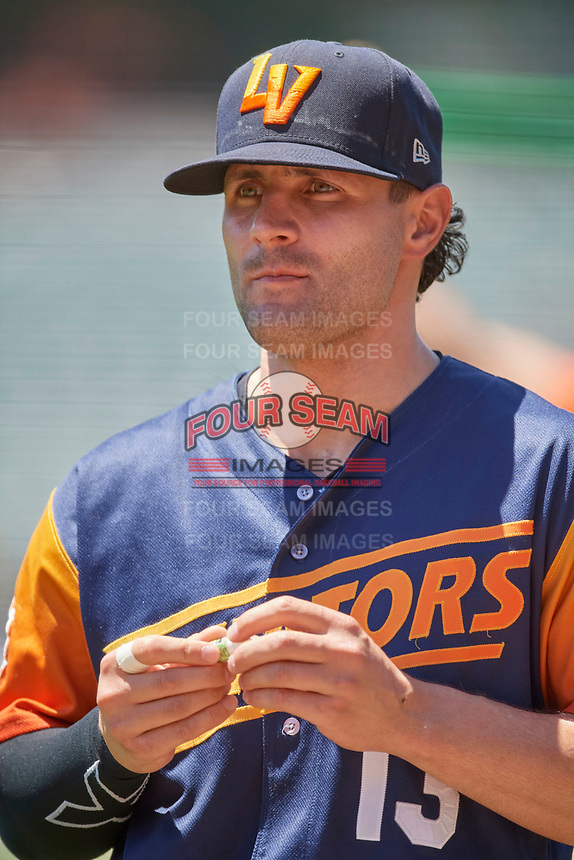 Pete Kozma (13) of the Las Vegas Aviators before the game against the Salt Lake Bees at Smith's Ballpark on June 27, 2021 in Salt Lake City, Utah. The Aviators defeated the Bees 5-3. (Stephen Smith/Four Seam Images)