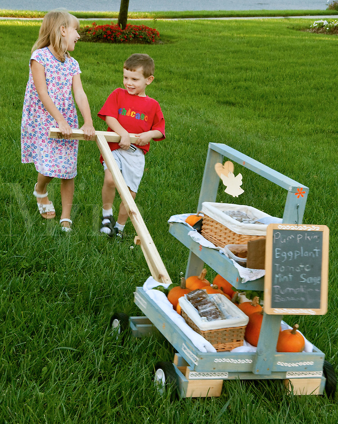 Kids with market wagon