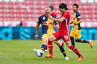 25th August 2020, Red Bull Arena, Slazburg, Austria; Pre-season football friendly, Red Bull Salzburg versus Liverpool FC;  Rasmus Kristensen FC Red Bull Salzburg challenged by Takumi Minamino FC Liverpool