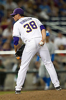LSU Tiger pitcher Nick Rumbelow (38) looks to his catcher for the sign during Game 4 of the 2013 Men's College World Series against the UCLA Bruins on June 16, 2013 at TD Ameritrade Park in Omaha, Nebraska. UCLA defeated LSU 2-1. (Andrew Woolley/Four Seam Images)