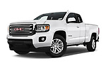 Stock pictures of low aggressive front three quarter view of a 2019 GMC Canyon 4WD SLE Extended Cab 5 Door Pick Up