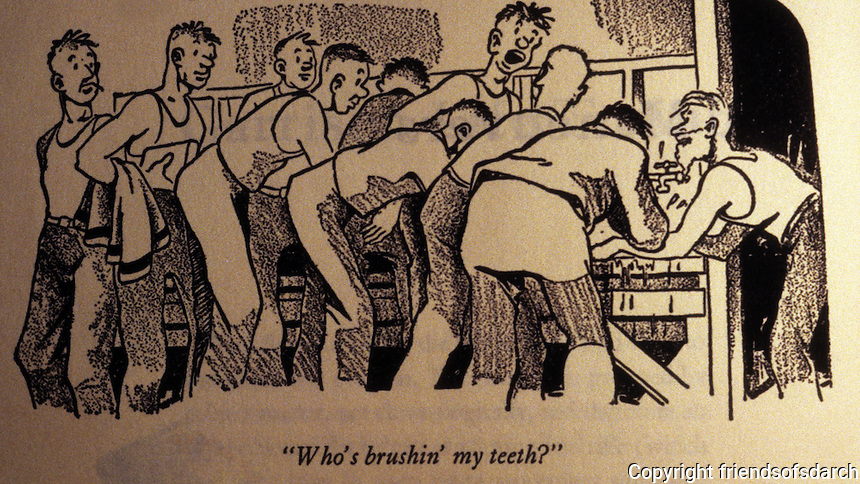 Technology: Early cartoon by Bill Mauldin, Pulitzer Prize winning cartoonist depicting army life in WWII.