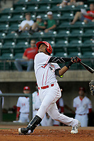 Greeneville Reds outfielder Reniel Ozuna (27) at bat during a game against the Bristol Pirates at Pioneer Field on June 20, 2018 in Greeneville, Tennessee. Bristol defeated Greeneville 11-0. (Robert Gurganus/Four Seam Images)